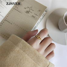 ZJSVER Korean Jewelry 925 Sterling Silver Ring Gold Color Fashion Simple Chain Hollow Design Women Rings For Festival Gift