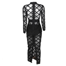 Party Maxi Dress Women's Sexy Hollow Out Perspective Gauze Patchwork