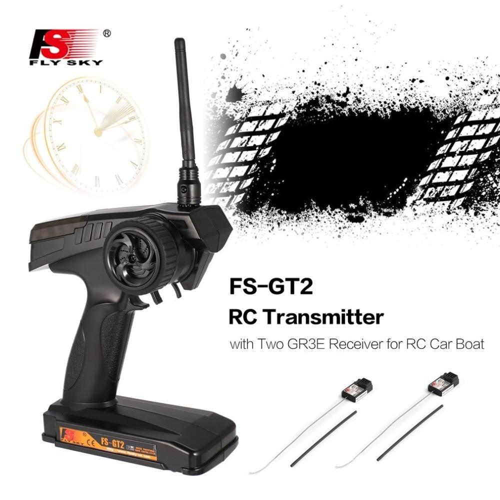 Flysky 2.4G FS-GT2 2CH AFHDS Gun for RC Car Boat Radio Model RC Transmitter Remote Controller with Two FS-GR3E Receiver все цены