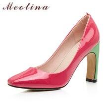 Meotina/Туфли обувь для женщин 2017 г. Новый Высокий каблук осень женские туфли-лодочки квадратный носок Лакированная кожа высокий каблук Основные обувь черный, красный Размеры 34–43