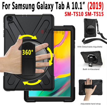 Shoulder Strap Case for Samsung Galaxy Tab A 10.1 2019 SM-T510 SM-T515 T510 T515 Rotating Stand Kids Safe Shockproof Cover Funda tablet case for samsung galaxy tab a 10 1 inch 2019 t510 fundas shockproof eva safe kids cover for sm t510 t515 protective case