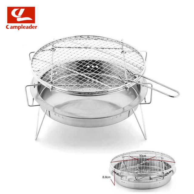 Campleader Outdoor Stainless Steel Bbq Grill Small Portable Barbecue Grilled Net Camping Picnic Charcoal Folding Cl226