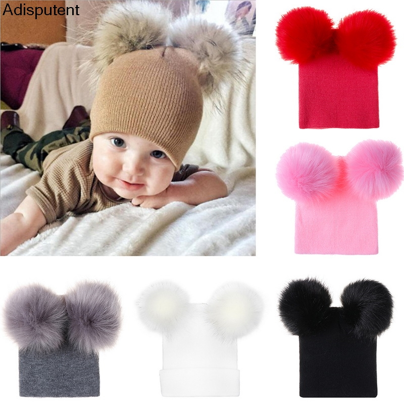 Adisputent Winter Baby Warm Hat Infant Knit Hat Toddler Crochet double fuffy ball Beanie Ski Cap 2019 new fashion Comfortable(China)