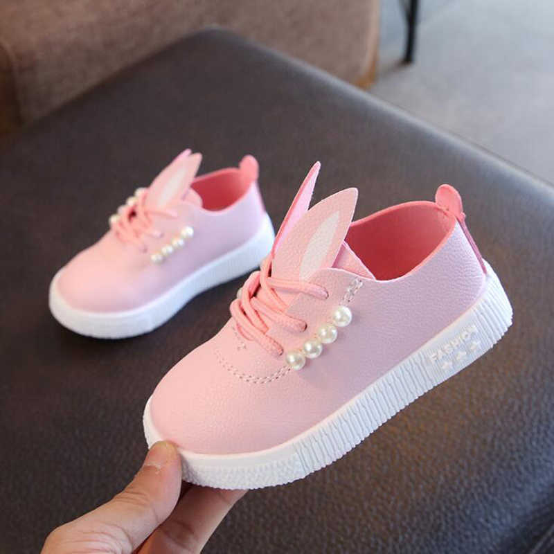 e84113cf2e 2018 Autumn Girls Casual Shoes String Bead Decor Princess Shoes Lace-up  Kids White Shoes