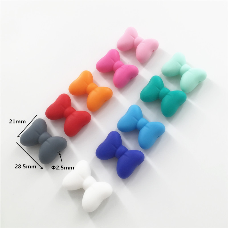 Chenkai 20pcs BPA Free Loose Silicone Bowknot Beads DIY Baby Pacifier Dummy Teether Nursing Sensory Bow Tie Jewelry Toy
