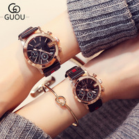 AAA Famous Brand GUOU Lovers Watches Women Lady Girl Men Female Calendar Dress Fashion Casual Clock Quartz watch 30m Waterproof