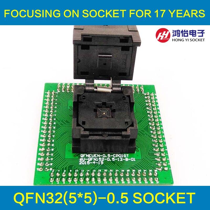 MLF32 QFN32 IC Test Adattatore Presa Passo 0.5mm IC550-0324-007-G Programmazione Clamshell Dimensione del Chip 5*5 Flash Adapter Brucia nella Presa di Corrente
