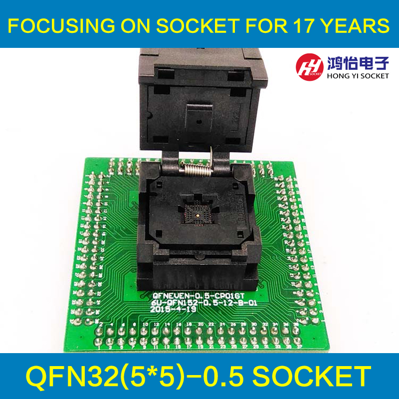 QFN32 MLF32 IC Test Adapter Pitch 0.5mm IC550-0324-007-G Programming Socket Clamshell Chip Size 5*5 Flash Adapter Burn in Socket qfn48 0 5 ic test block adapter test bench burn in