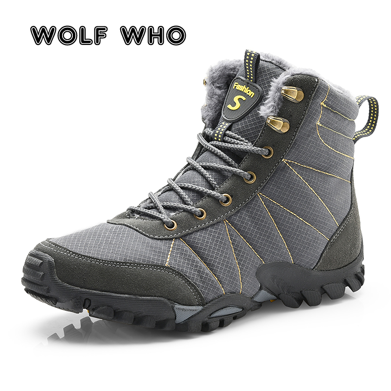 WOLF WHO Big size New Men Boots for Men Winter Snow Boots Warm Fur Plush Lace Up High Top Fashion Male Shoes Sneakers Boots X167 2017 new winter high top comfortable boots warm plush sneakers mujer warm running shoes for men cheap sale sneakers zapatillas