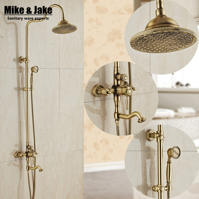 Bathroom Antique Brass Shower Set With Bathroom Rain Shower Head