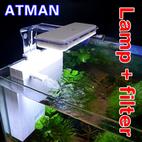 ATMAN T2 Small Fish Tank Low Water Level Back Hanging Filter +LED Lighting Clamp Lamp Function 2 in 1 Simple And Beautiful White