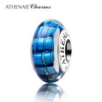 ATHENAIE Genuine Murano Glass 925 Silver Core Glazing Streak Charm Bead Fit Pandora Bracelets Color Blue