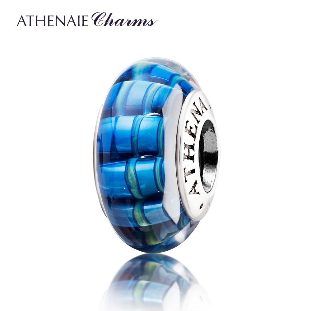 ATHENAIE Genuine Murano Glass 925 Silver Core Glazing Streak Charms Beads Fit European Bracelets & Bangles Color Blue