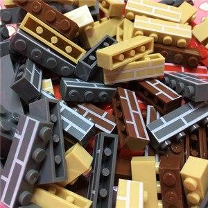 Image 5 - עיר טירת DIY 100 יחידות\שקית 1X4 בית קיר לבנים MOC בניין בלוקים יצירתיים חלקים צעצועים לילדים