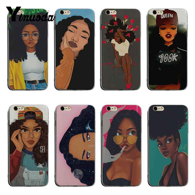 Yinuoda Afro filles pour iphone XSMax Coque Coque de téléphone pour iphone 6 plus 6 s 7 plus 8 plus X XS XR Coque