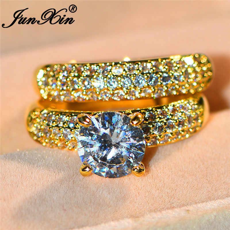 JUNXIN невесты Обручение набор парных колец Серебро 925 желтый золотистый цвет, Круглый Циркон винтажное серебрянное кольцо для Для женщин Для мужчин ювелирные изделия