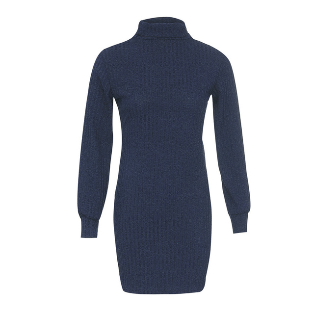 Turtleneck Striped Knitted Sweater Dress Women 2018 Autumn Winter Long Sleeve Ladies Warm Knitting Slim Mini Dresses Vestido