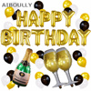 Happy Birthday Foil Balloons Alphabets Champagne Cup Beer Bottle Balloons First Birthday Party Decor Anniversary Celebration