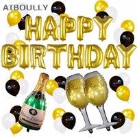 Feliz cumpleaños foil Globos alfabetos copa de Champagne botella de cerveza Globos primera fiesta de cumpleaños decoración de celebración del aniversario