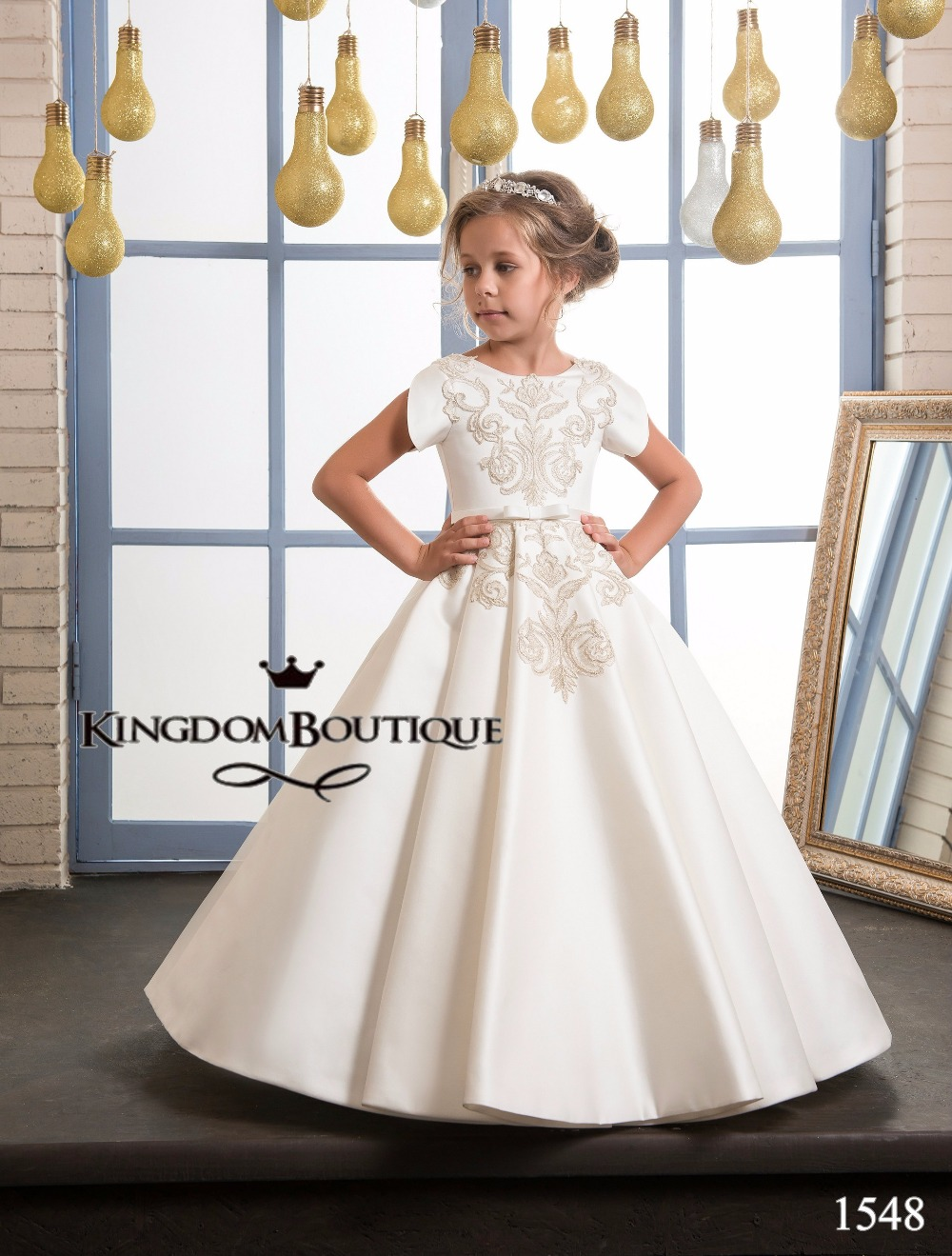 Christmas wedding dress zipper - Fancy Flower Girl Dress Gold Appliques Formal Christmas Ball Gowns Satin Zipper V Back Pageant Dresses
