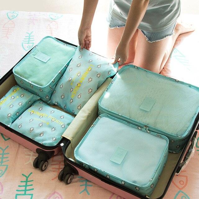 6pcs Travel Storage Bags Set Clothes Underwear Laundry Pouch Luggage Organizer Bag