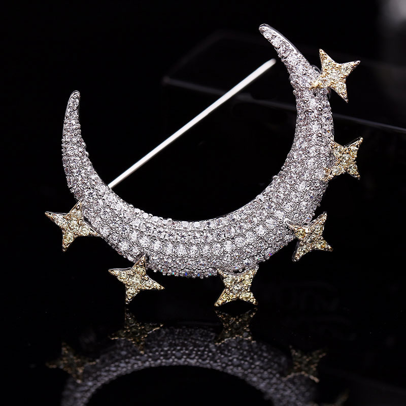 RE Fashion jewelry accessory micro pave cubic zirconia crescent moon brooches pin lady scarf buckles stars brooch gift C09