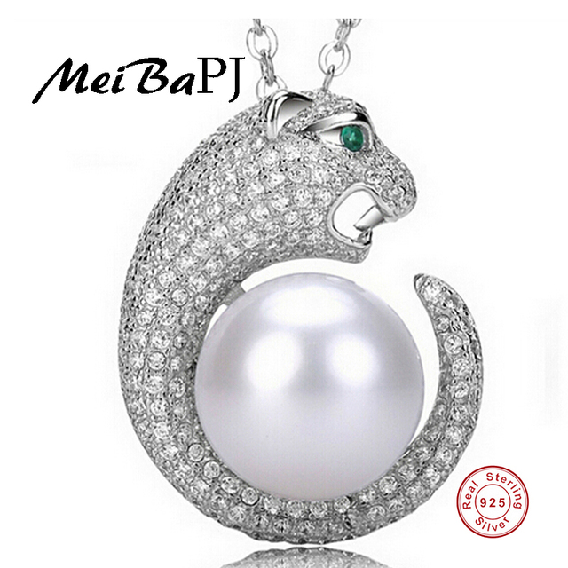 [MeiBaPJ] Luxury fashion Leopard pendant necklace jewelry 12-13mm big natural freshwater pearl Pendant Necklace 925 Silver