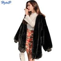 HziriP Autumn Winter Faux Coat Women 2017 Fashion Office Wear V Neck Fake Fur Jacket Black