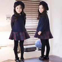 winter brand new girls clothes preppy style babys Tartan dress Thickening splicing Korean style The fair maiden grid