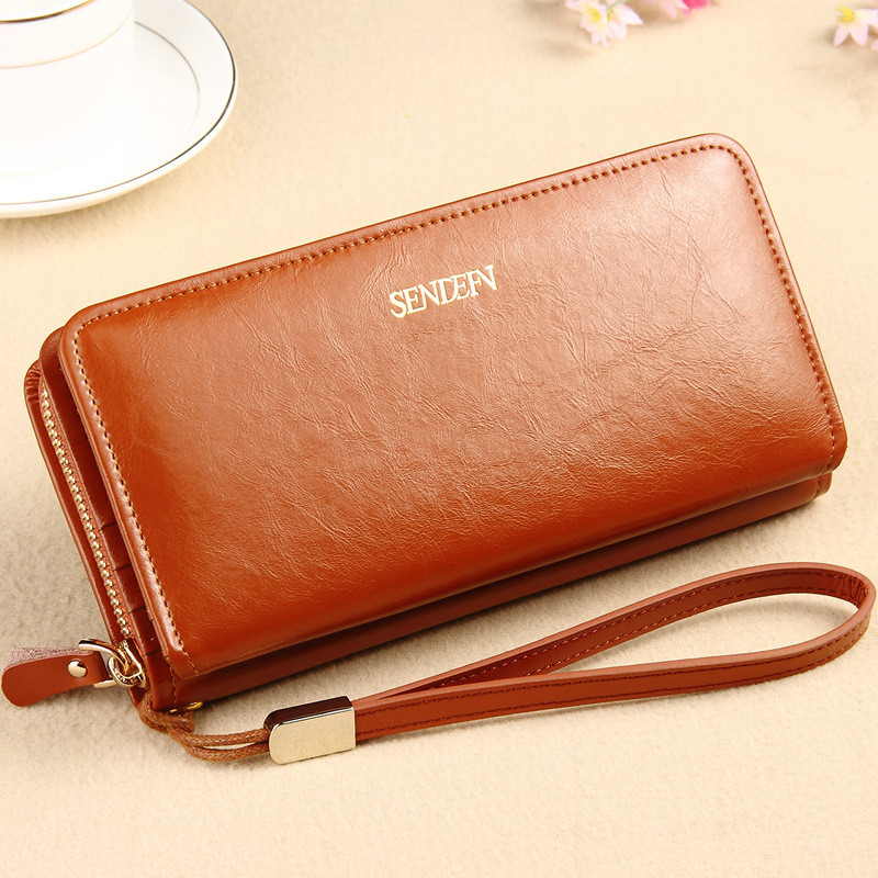 ФОТО Sendefn  long female oil leather wallet ,purse easy to transport women wallet card holder to the value of the dollar fashion lad