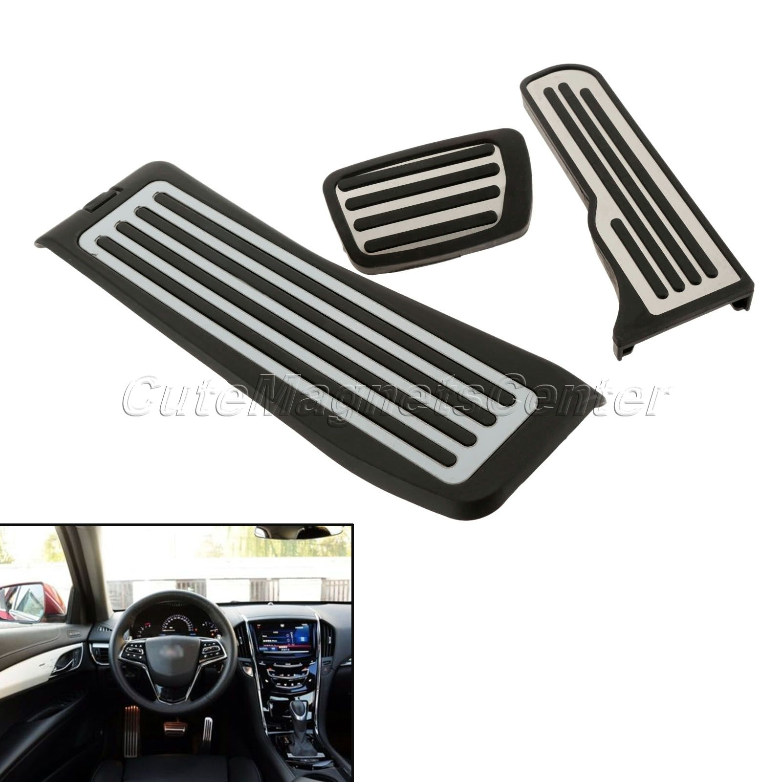 Stainless Steel Car Footrest Pedals Gas Fuel Brake Foot Plate Cover Sticker forCadillac ATS ATS-L Series Car Accessories Styling