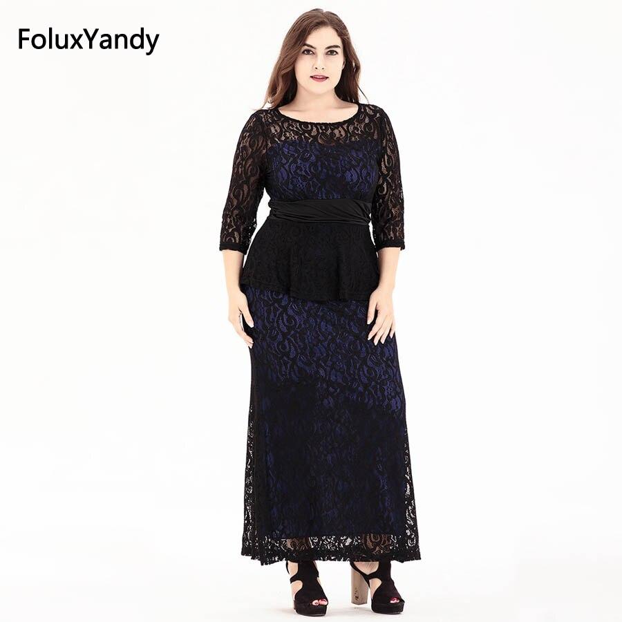 Vintage Long Dress Plus Size 3 4 5 6 XL Casual O-neck Three Quarter Sleeve  Women Lace Dress Vestidos Red Blue SQN19