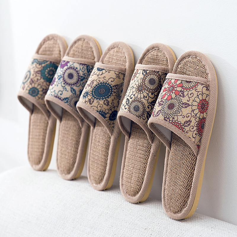 Summer Home Slippers Ladies Cotton Indoor Home Slippers Ladies Non-Slip Men Soft Bottom Slides Household Linen Slippers