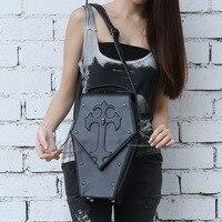 Unisex Gothic Steampunk Visual Rock Vampire Coffin Shoulder Bag Man And Women Metal Skull Head Handbag Crossbody Box Bags