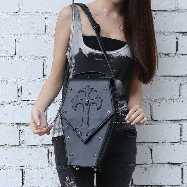 Unisexe gothique Steampunk visuel Rock Vampire cercueil sac à bandoulière homme et femmes métal crâne tête sac à main bandoulière boîte sacs