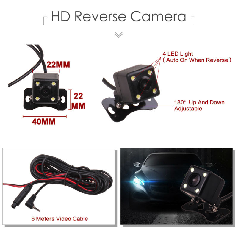 Dual Camera Full HD 1080P Car DVR Black Box Rearview Mirror with Reverse Rear View Parking Camera Motion Detector G Sensor 5