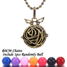 Mexico Chime Music Ball angel&wing Caller Locket Necklace Vintage Aromatherapy Essential Oil Pregnant Women Pregnancy Necklace(China)
