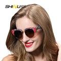 2016 de alta calidad cat eye sunglasses men medio borde de oro marco polarizado gafas de sol de moda las mujeres gafas de sol grandes del marco con la caja SH120