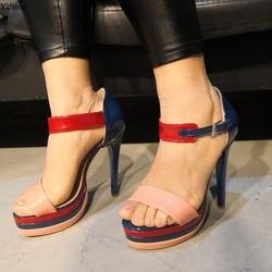 Yifsion/Новое поступление, женские босоножки на платформе, пикантные босоножки на высоком каблуке-шпильке, вечерние женские туфли синего