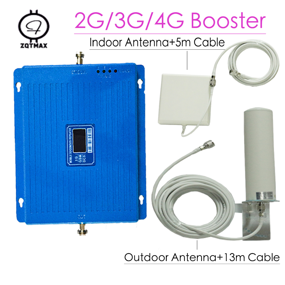 2G 3G 4G Tri Band Cellphone Signal Amplifier GSM 900 DCS LTE 1800 WCDMA 2100MHz Repeater 75dB LCD Display 4G LTE Booster Home