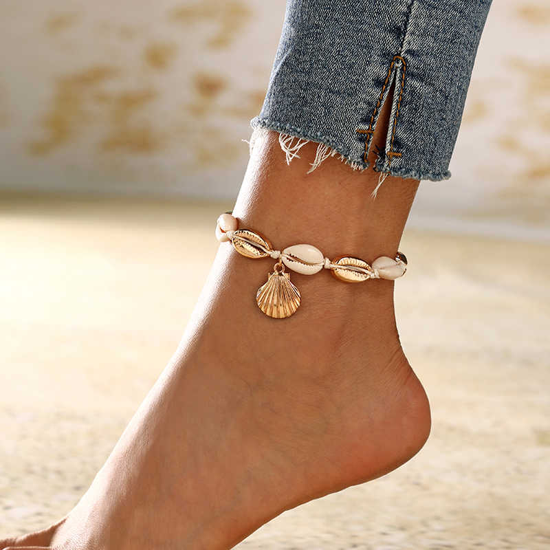 YAOLOGE Vintage Antique Gold Anklet Women Shell Sequins  Geometric Bracelet Charm Bohemian Ankle Bracelet Boho Foot Jewelry