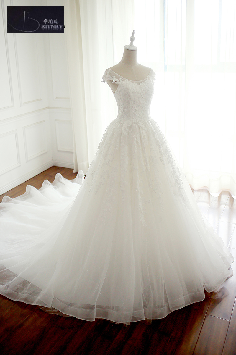 Modest Wedding Dress Capped Sleeves Lace Covered Back Puffy A Line ...