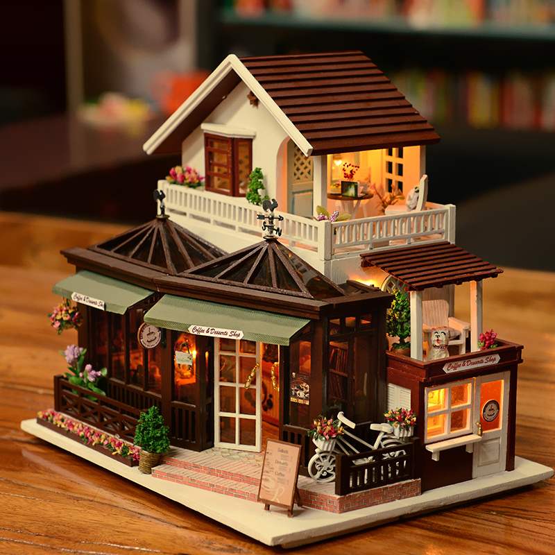 Large Coffee House Manual Assembling House Model Toys DIY Wooden Toy Hut  House With LED Light