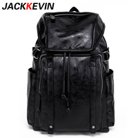 JACKKEVIN Famous Brand Leisure Style Leather School Backpack Bag For College Simple Design Men Casual Daypacks