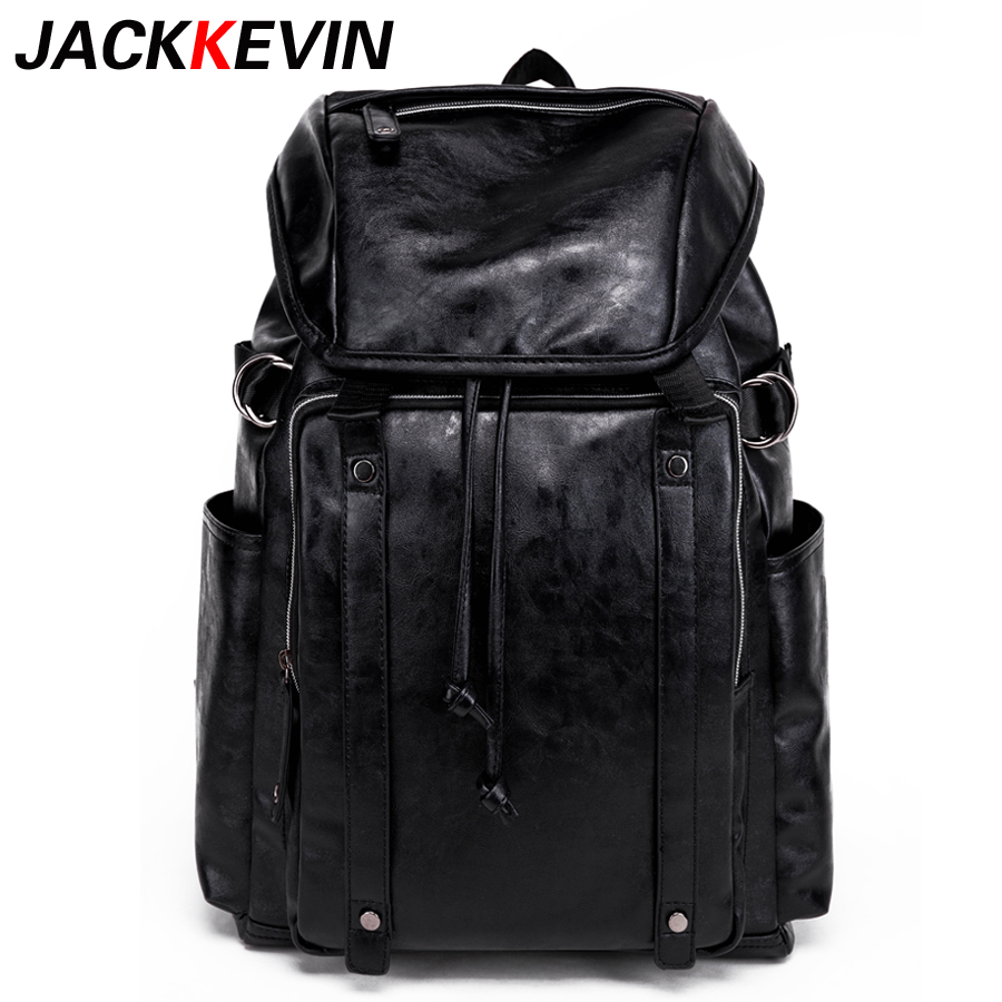 JACKKEVIN Famous Brand Leisure Style Leather School Backpack Bag For College Simple Design Men Casual Daypacks mochila male New free shipping 2015 new famous designer brand fashion leisure cavans school college wind backpack eiffel tower pattern