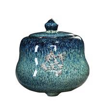 Синяя градиентная глазурь керамическая похорон урна для праха домашнего животного для памятников маленькие вмещает до 30 кубических дюймов пепла питомцы; урна для кремации для пепла