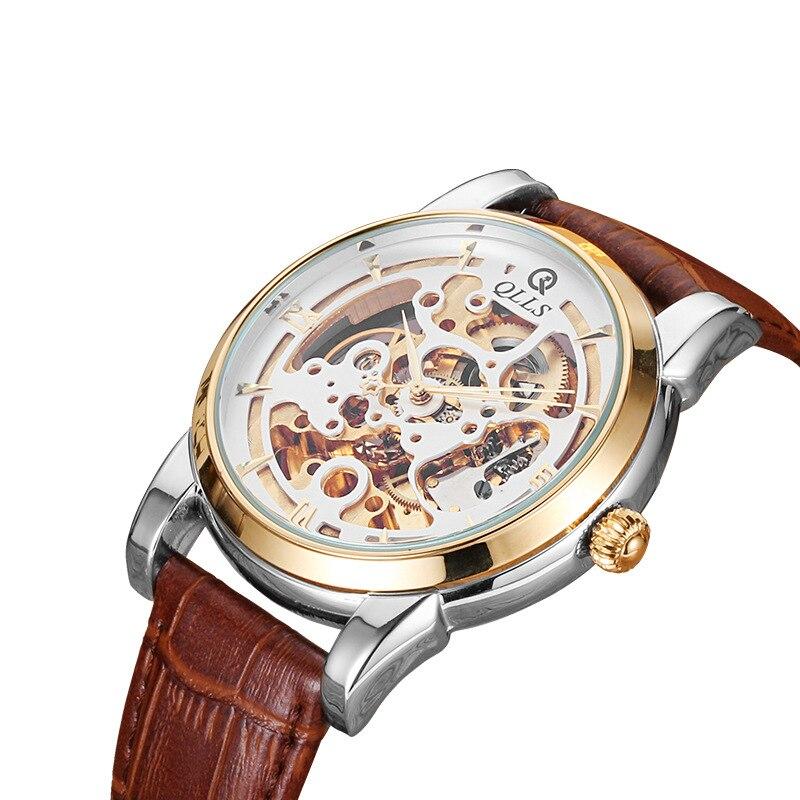 Mens Watches Top Brand Luxury QLLS Men Sport Tourbillon Skeleton Automatic Mechanical Leather Wristwatch  Relogio Masculino