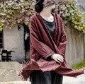 2016 Осень Зима Новый Блузка Кардиган Длинные Белье Хлопка с Длинными рукавами Урожай Кардиган Блузка Красная Рубашка Женщины Clothing Plus размер