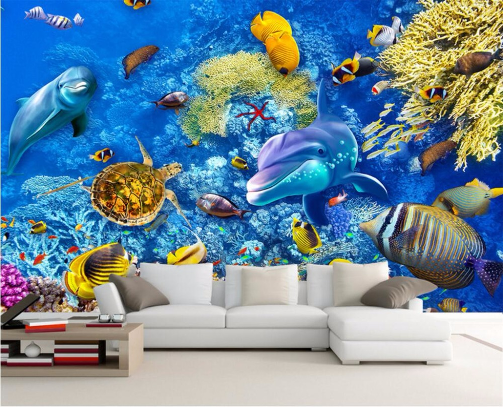 Custom mural photo 3d wallpaper coral sea world fish home for 3d mural painting tutorial