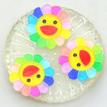 10PCS Acrylic Flatback Rainbow Glitter Sunflower Smile Face Cabochons|Flatback Scrapbooking Miniatures|Sunflower HairBow Centers